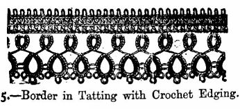Border in Tatting with Crochet Edging.