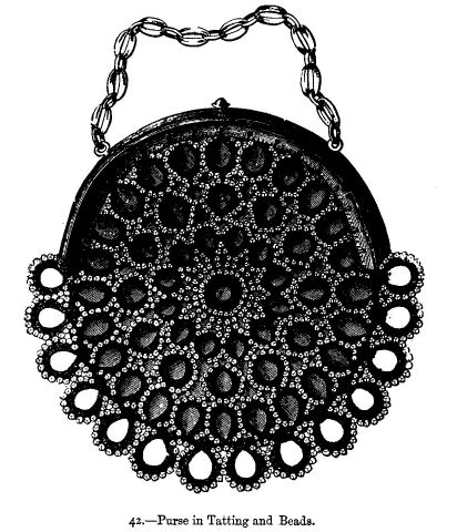 Purse in Tatting and Beads.