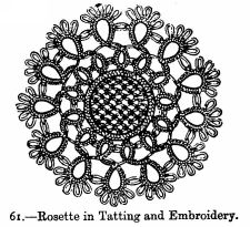 Rosette in Tatting and Embroidery.
