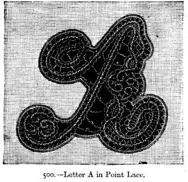 Letter A in Point Lace.
