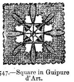 Square in Guipure d'Art.